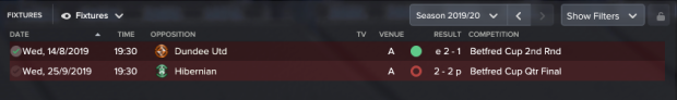 League Cup results
